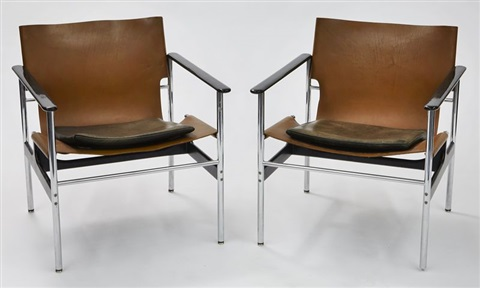 leather sling chairs banquet canada 657 pair by charles pollock on artnet