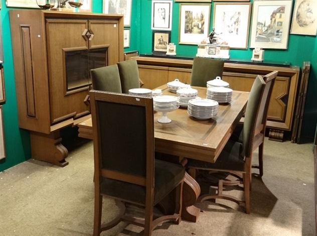 art deco enfilade vitrine table allonge et 6 chiases set of 9 by sam de coene on artnet