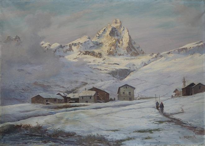 Paesaggio montano con Cervino sullo sfondo by Leonardo Roda on artnet