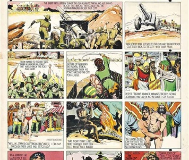 Tarzan Against Dagga Ramba Beseiged Original Artwork For The Syndicated Tarzan Comic Strip By