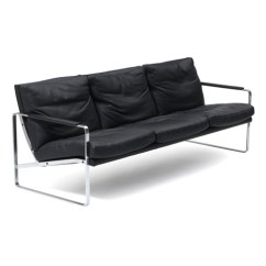 Steel Frame Sofa Lc5 A Three Seater With Chromed Upholstered Black Leather By Preben