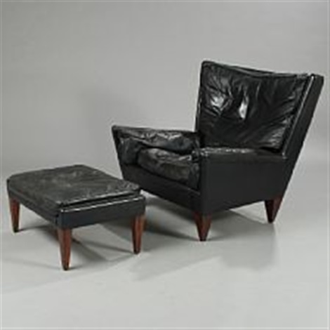chair and matching stool evenflo modtot high easy with upholstered black leather brazilian rosewood legs by illum