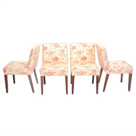 floral upholstered chair portable folding high set of four dining chairs by t h robsjohn gibbings