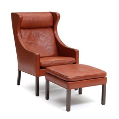 Chair And Matching Stool Orange Computer Wingback With Oak Legs Upholstered Red Brown Leather By