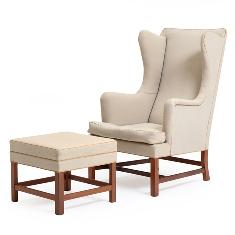 chair and matching stool wheelchair cushion covers wingback with mahogany frame patinated leather pipings by kaare klint