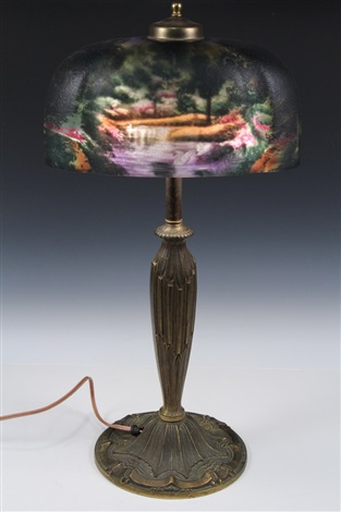 Reverse painted lamp by Pittsburgh Lamp, Brass and Glass