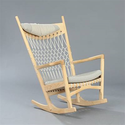 hans wegner rocking chair light wood upholstered dining chairs model pp 124 by j on artnet