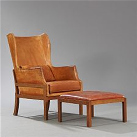 chair and matching stool dining cushions with ties nz mahogany wingback pair by mogens koch on