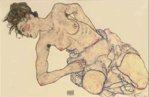 Kniender weiblicher Halbakt von Egon Schiele auf artnet