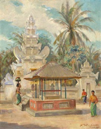 balinese beauties bringing offerings in a temple by rudolf wenghart