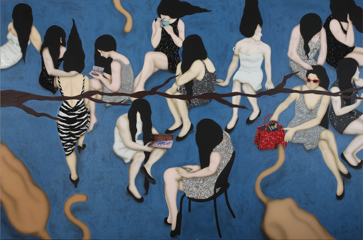 Kezban Arca Batibeki's Hairy Tale 2011,  embroidery and collage on canvas COURTESY OF LEILA HELLER GALLERY, NEW YORK