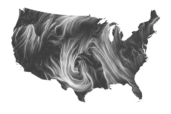 Fernanda Viégas and Martin Wattenberg's Wind Map, 2012