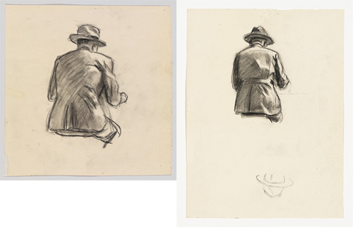 Left: Edward Hopper, Study for Nighthawks, 1941 or 1942, fabricated chalk and charcoal on paper, 8 1/8 x 8 in. Right: Edward Hopper, Study for Nighthawks, 1941 or 1942, fabricated chalk and charcoal on paper, 11 13/16 x 8 7/8 in. COURTESY WHITNEY MUSEUM OF AMERICAN ART, NEW YORK; JOSEPHINE N. HOPPER BEQUEST 70.254. © HEIRS OF JOSEPHINE N. HOPPER, LICENSED BY THE WHITNEY MUSEUM OF AMERICAN ART. DIGITAL IMAGE, © WHITNEY MUSEUM OF AMERICAN ART, NY.