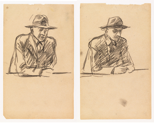 Both images: Edward Hopper, Study for Nighthawks, 1941 or 1942, fabricated chalk on paper, 7 3/16 x 4 7/16 in. PHOTOS COURTESY WHITNEY MUSEUM OF AMERICAN ART, NEW YORK; JOSEPHINE N. HOPPER BEQUEST 70.189. ©HEIRS OF JOSEPHINE N. HOPPER, LICENSED BY THE WHITNEY MUSEUM OF AMERICAN ART. DIGITAL IMAGE, © WHITNEY MUSEUM OF AMERICAN ART, NY.