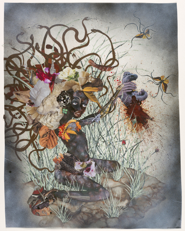 Wangechi Mutu, The Bride Who Married a Camel's Head, 2009, mixed-media collage on mylar. ©WANGECHI MUTU. COURTESY DEUTSCHE BANK COLLECTION, GERMANY, K20100083. IMAGE COURTESY OF SUSANNE VIELMETTER LOS ANGELES PROJECTS. PHOTO MATHIAS SCHORMANN.