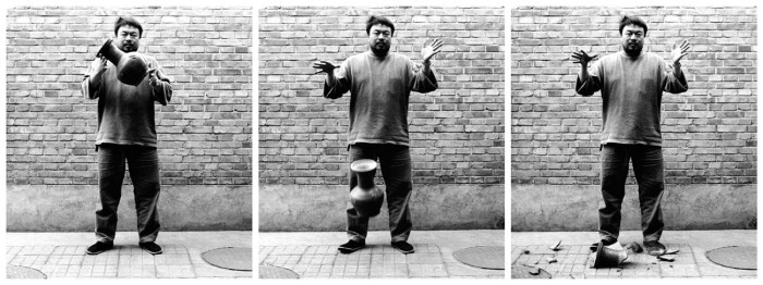 Three images of Ai Weiwei dropping a Han Dynasty Urn.