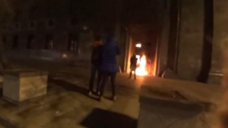 Performance Artist Pyotr Pavlensky Sets Fire