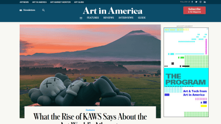 screenshot of Art in America's homepage