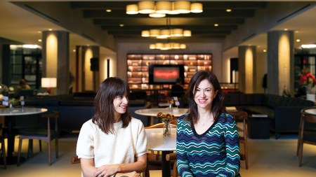 Photo of artist Jill Magid (left)
