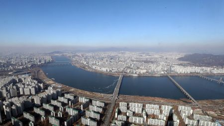An aerial view shows clear sky