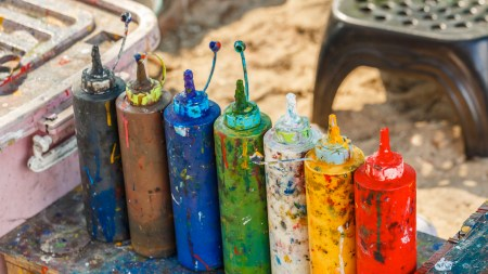 Paint bottles to be squeezed for