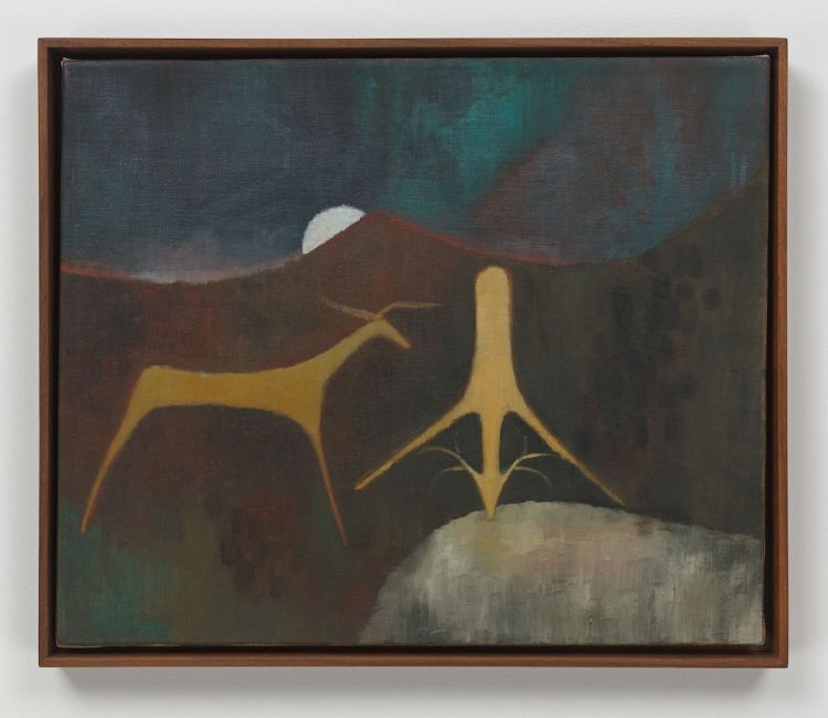 Luchita Hurtado, 'Untitled', ca. 1947–49. Two deer-like forms drink from a pond while a sun peeks out from behind a mountain range.