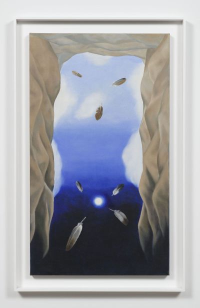 Luchita Hurtado, 'The Umbilical Cord of the Earth is the Moon', 1977. An upward view of a dark blue sky encircled by rocks and floating feathers.