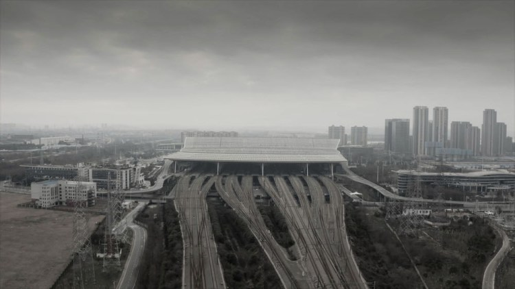 Still from Ai Weiwei's 'CoroNation' (2020). A Wuhan trainstation is empty, with an overcast sky above it.