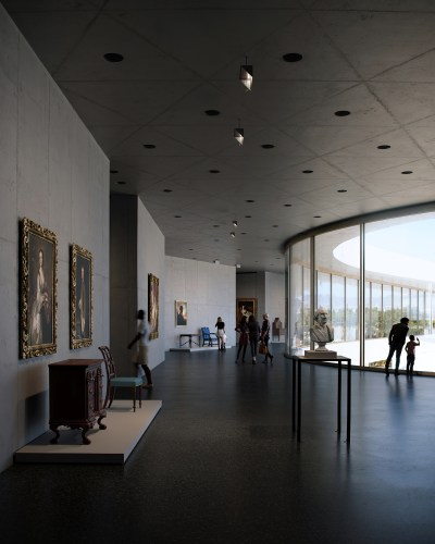 Rendering of David Geffen Galleries at LACMA, showing terrace and north entrance galleries,