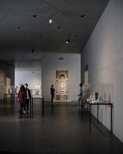 Rendering of David Geffen Galleries at LACMA, showing a courtyard gallery.