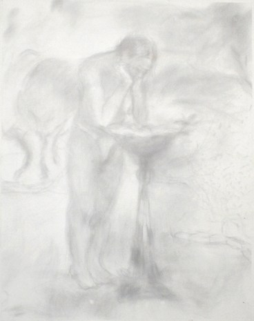 A scratched portrait of a nearly nude figure leaning over a birdbath, rendered in scratchy gray lines on a white background