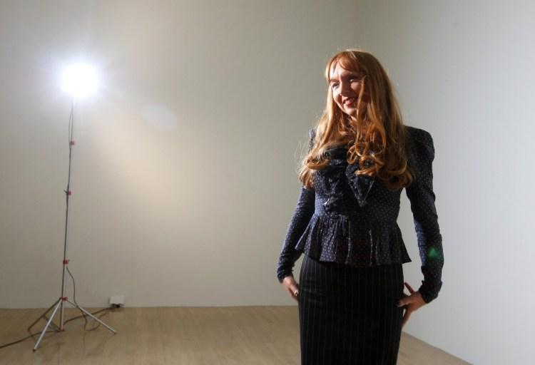 Artist Susan Philipsz inside her sound installation 'Lowlands'.