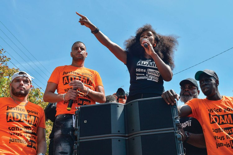 Assa Traoré at a demonstration in memory of her brother Adama, July 2020.