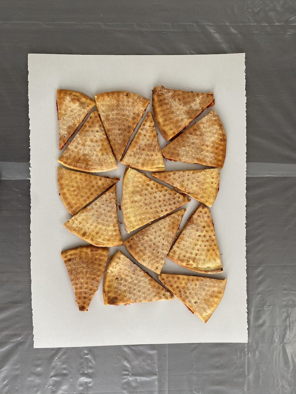 Carmen Argote uses pizza for printmaking