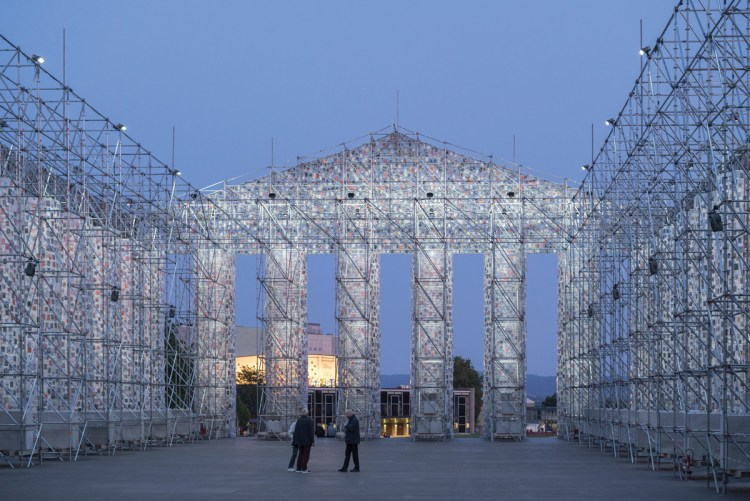 Marta Minujín's Parthenon of Books, 2017, installed in Kassel, Germany, as part of Documenta 14.
