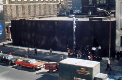 Christo, Wrap In Wrap Out, 1969. Exterior view of the wrapped MCA Chicago in 1969.