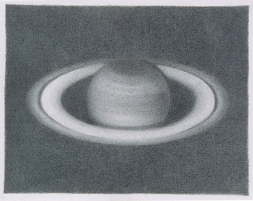 gray graphite drawing of the planet saturn