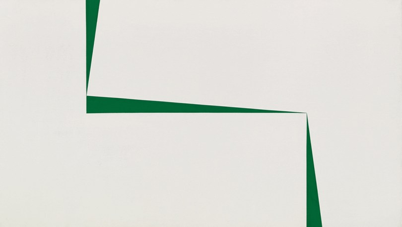 abstract painting of thing green angled shapes on a white ground