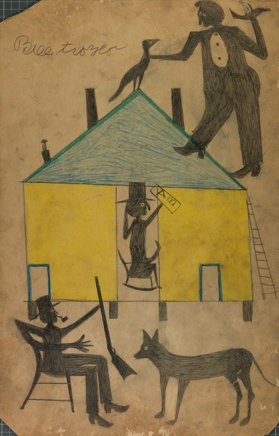 Bill Traylor, Untitled (Yellow and Blue House with Figures and Dog), n.d.