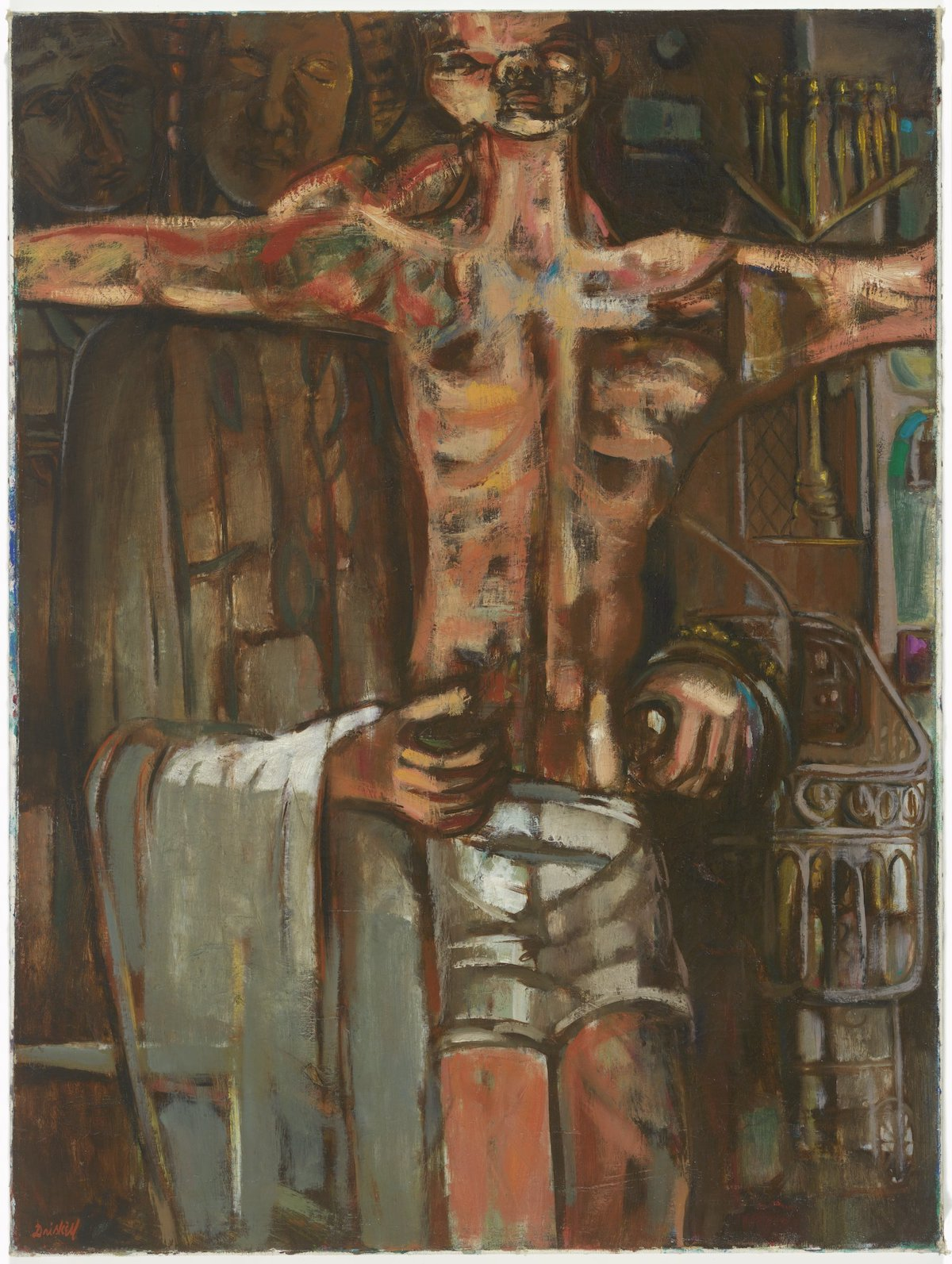 David C. Driskell, 'Behold Thy Son', 1956. A Black figure is shown on a crucifix while a priest-like figure attends to it.
