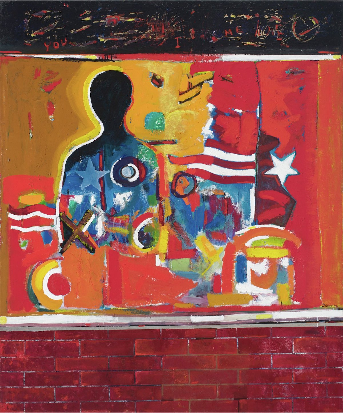 David C. Driskell, 'Ghetto Wall #2', 1970. A black figure stands behind a mass of abstract forms, with a brick wall covering the lower part of its body.