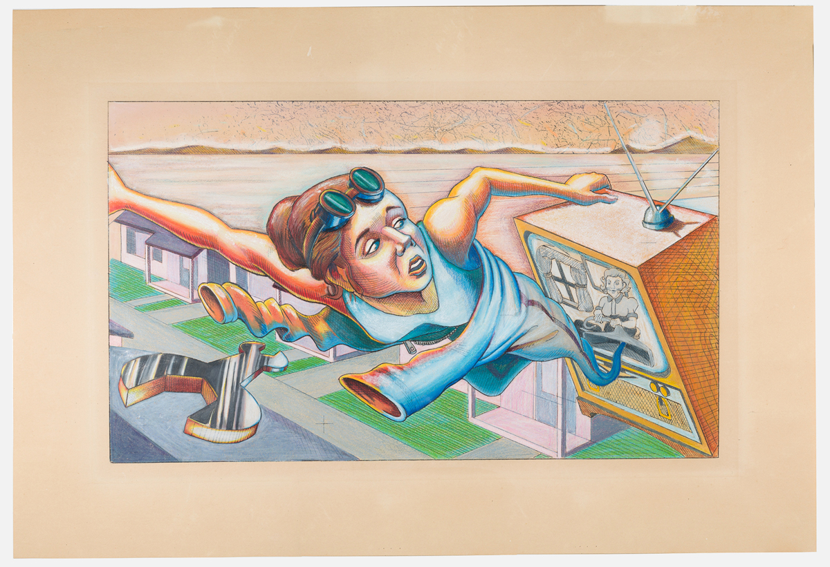 Judith F. Baca, The Great Wall of Los Angeles 1950: Farewell to Rosie the Riveter: Final Coloration, Punto Perspective, 1983.