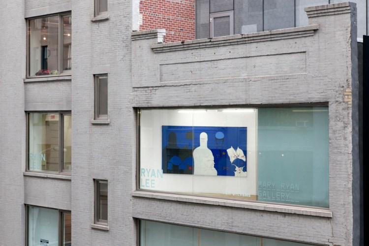 A large painting that is predominently blue is shown through a window of a brick Chelsea building painted white. This isn't the ground floor. There are 5 figures in the painting with phallic-shaped heads, wearing police and army uniforms.