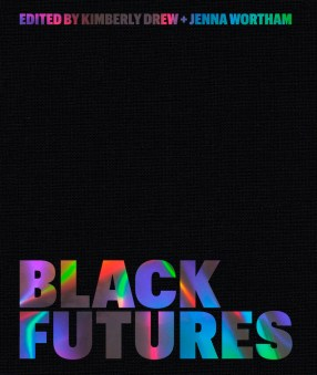 Cover of the book Black Futures, with iridescent text on a black background