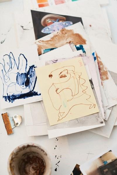 Quick sketches in Ali Banisadr's studio.