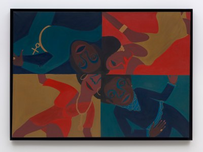 A horizontal painting divided into four quadrants depicts one person dancing, in blue or red attire, in each quadrant.