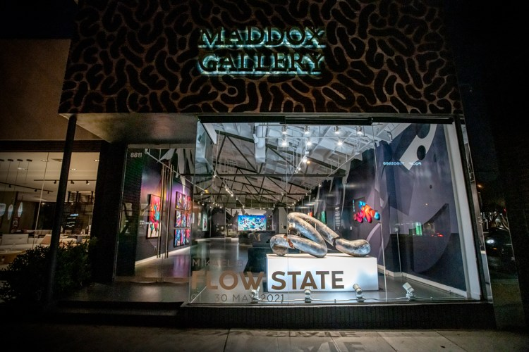 Exterior view of Maddox Gallery in Los Angeles, showing Mikael B's 'Flow State' exhibition.