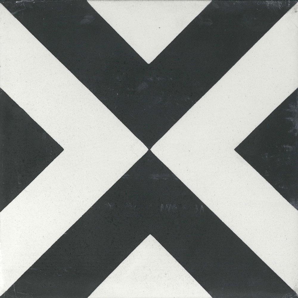 sample 8x8 large box black white cement tile