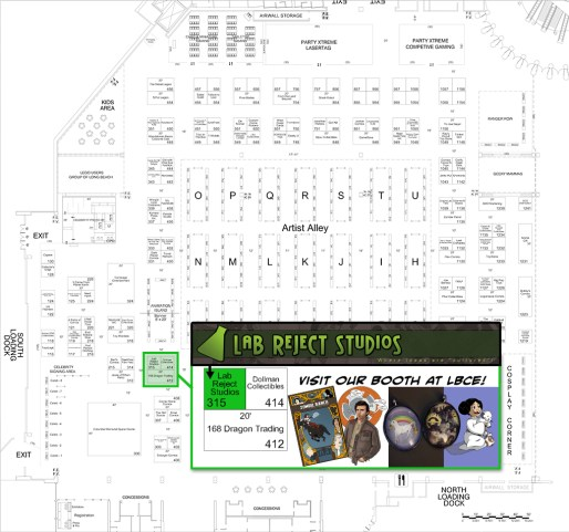 Long Beach Comic Expo floor map. Dawn's booth is number 315.