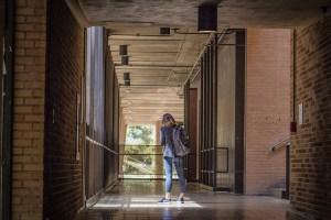 Girl in school hallway